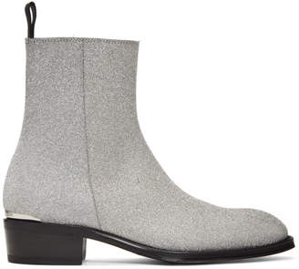 Alexander McQueen Silver and Black Tiny Dancer Boots