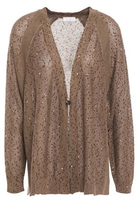 Brunello Cucinelli Embellished Linen And Silk-blend Cardigan
