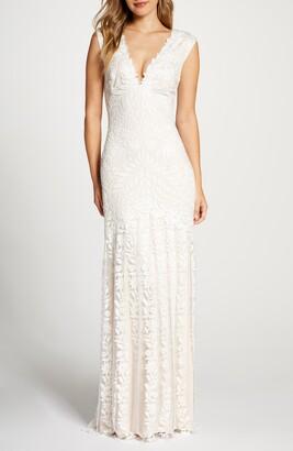 Tadashi Shoji Lace Mermaid Wedding Dress