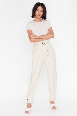Nasty Gal Womens Waist Not Utility Belted Jeans - Cream - 6