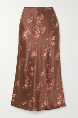 Reformation Pratt Floral-print Silk-satin Midi Skirt - Red