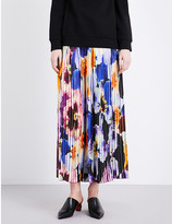 Christopher Kane Pansy-print pleated silk-georgette trousers
