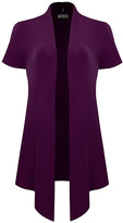 BB B+B Women's Open Cardigans PURPLE - Purple Drape Short-Sleeve Open Cardigan - Women