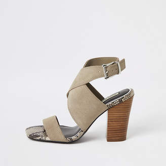 River Island Grey suede cross strap heeled shoe boots