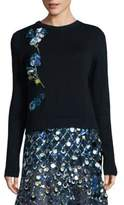 Prabal Gurung Floral Embellished Wool Sweater