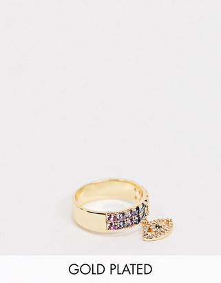 ASOS DESIGN gold plated ring with eye charm and rainbow cubic zirconia crystals