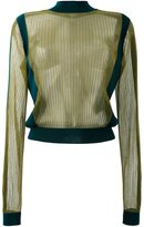 Maison Margiela metallic ribbed sheer top