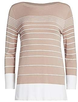 Piazza Sempione Women's Striped Bi-color Sweater
