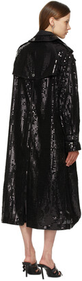 Junya Watanabe Black Sequin Organdy Double-Breasted Trench Coat