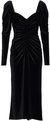 A.L.C. Chamberlain Puff-Sleeve Velvet Midi Dress