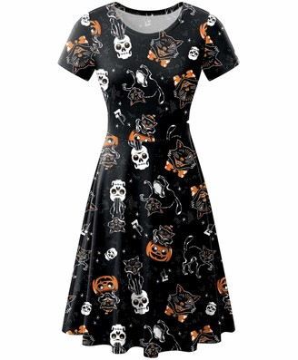 For G And Pl Halloween Women Pumpkin A-Line Skull Swing Party Short Sleeve Tunic Dress Black Cats S