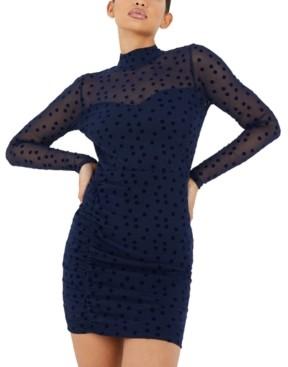 Quiz Illusion-Sleeve Dot Bodycon Dress