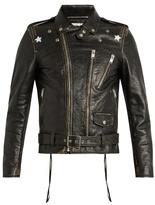 Saint Laurent Star-print tarnished-leather jacket