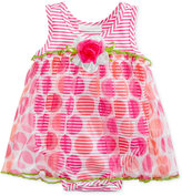 Bonnie Baby Stripes and Dot-Print Romper Dress, Baby Girls (0-24 months)