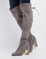 Charlotte Russe Gold-Trim Over-The-Knee Boots