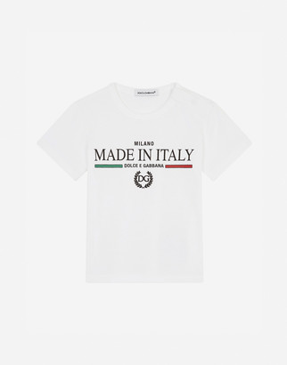 Dolce & Gabbana Jersey T-Shirt With Made In Italy Print