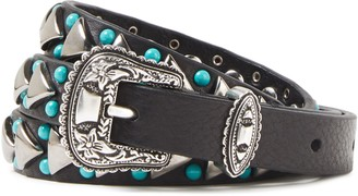 Sandro Appliqued Bead-embellished Leather Belt