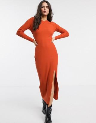 Asos DESIGN super soft rib open back maxi dress in orange