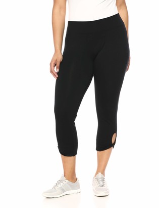 Andrew Marc Women's Cotton Spandex 7/8th Legging with Key Hole Cuff