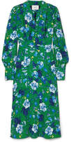 Erdem Ellera Floral-print Crepe Midi Dress - Green