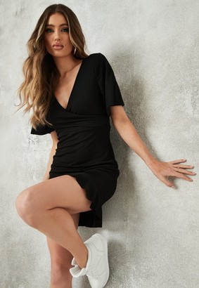 Missguided Black Flutter Sleeve Wrap Frill Hem Mini Dress