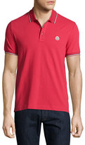 Moncler Tipped Piqué Polo Shirt, Burgundy