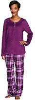 Carole Hochman Pajama Set with Fleece Top and Flannel Pants