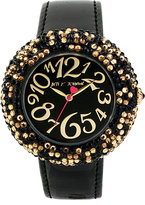 Betsey Johnson Black Band Leopard Pave Watch