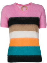 No.21 striped shortsleeved jumper - women - Polyamide/Mohair/Wool - 38