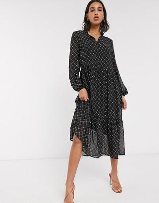 Vero Moda chiffon midi shirt dress in black check print