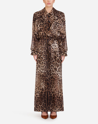 Dolce & Gabbana Organza Trench Coat With Leopard Print