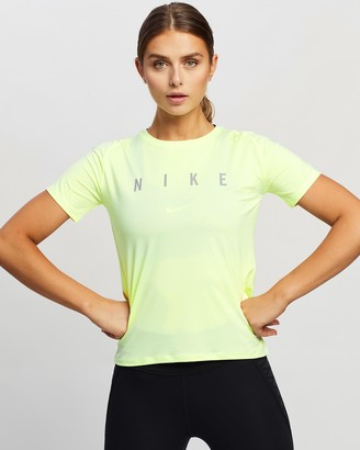 Nike Women's Yellow Short Sleeve T-Shirts - SS Miler Run Division Top - Size M at The Iconic