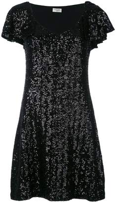 Saint Laurent sequin flutter sleeve dress