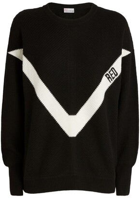 RED Valentino Ribbed Chevron Sweater