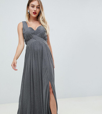 Little Mistress Petite Metallic Jersey Maxi Dress With Wrap Detail