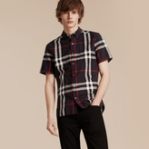 Burberry Short-sleeved Check Linen Cotton Shirt