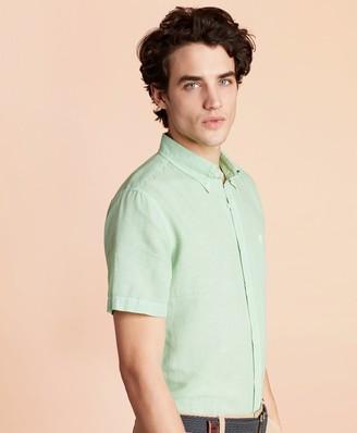 Brooks Brothers Linen-Blend Short-Sleeve Sport Shirt