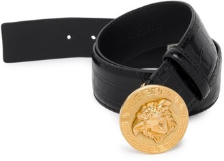 Versace Mock Croc Palazzo Leather Belt