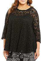IC Collection Plus 3/4 Sleeve Lace Swingy Top