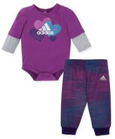 adidas Speed 2-Piece Bodysuit and Pant Set in Purple