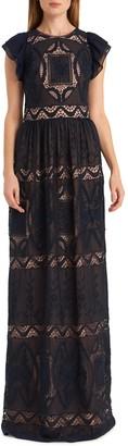 ML Monique Lhuillier Embroidered Flutter Sleeve Chiffon Evening Gown
