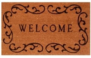 """Home & More Welcome Curlicue 24"""" x 36"""" Coir/Vinyl Doormat Bedding"""