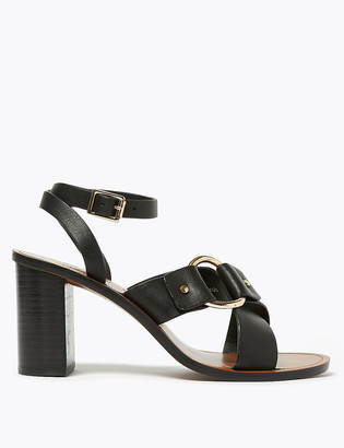 Marks and Spencer Leather Ring Detail Block Heel Sandals