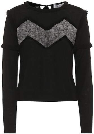 Valentino Lace-trimmed wool sweater