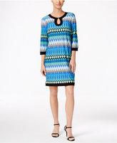 Sandra Darren Three-Quarter-Sleeve Printed Sheath Dress
