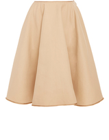 Paule Ka Cotton Flared Skirt with Bronze Trim with Pockets