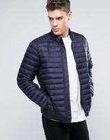 Asos Quilted Jacket with Funnel Neck in Navy
