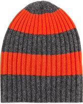 Portolano Rugby-Stripe Ribbed Hat, Heather Charcoal/Orange