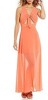 GB Tie Front V-Neck Cutout Maxi Dress
