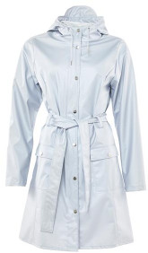 Rains Metallic Ice Grey Curve Jacket - XS/S - Grey